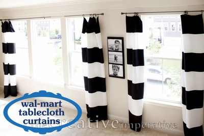 "108"" broad striped curtain panels made from tablecloths. $6 per curtain panel. Im totally doing this."