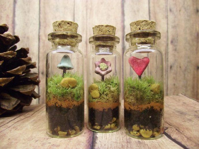 Sweet Set of Three Live Miniature Fairy Garden Terrariums With Raku Fired Heart Flower and Glow in the Dark Mushroom Handmade by Gypsy Raku by Gypsy Raku , $20.00 USD