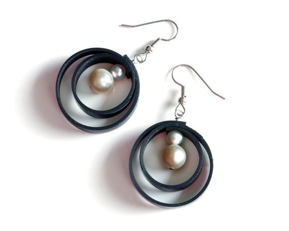 Unique circle swirl earrings made from black di LivelyLeafDesigns