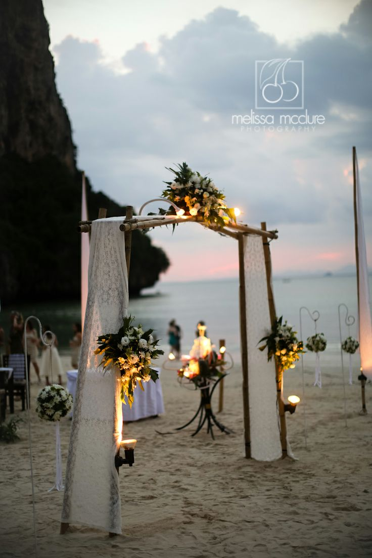 melissamcclure.com Thailand beach ceremony, sunset, Railay Bay, destination  wedding, reception