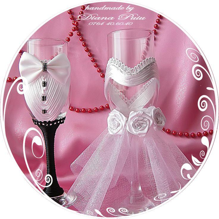White Wedding Glasses.Price 20 € / 22 $. http://handmadebydianapuiu.com/pahare-miri-nasi/