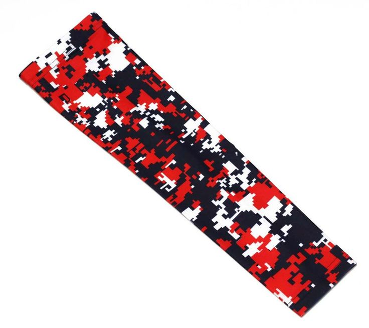 Red navy white camo basketball football compression arm sleeve