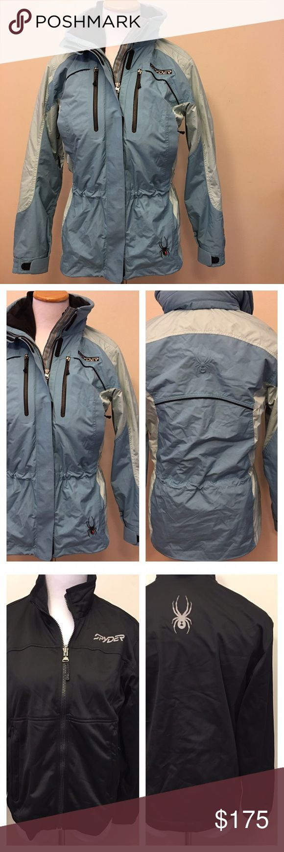 Spyder Blue & Black Ski Parka Coat & Shell System Pockets everywhere. Inner removable jacket is black and outer jacket is mostly blue. Machine washable on delicate. Axys Line. Hood is removable or can be tucked away and kept on the jacket. Please feel free to ask any other questions you may have! Spyder Jackets & Coats