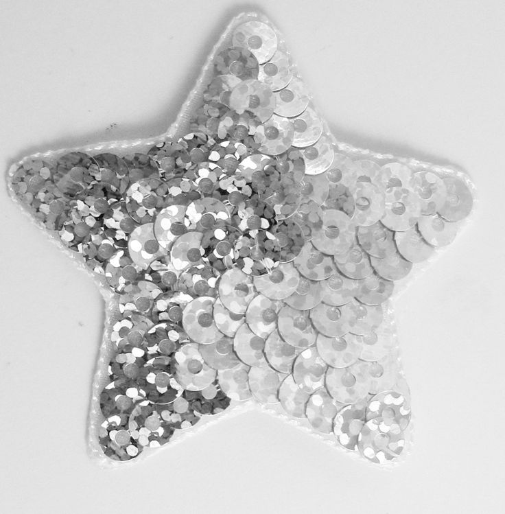 Star with Silver Spotlite Sequins Iron-On 2""