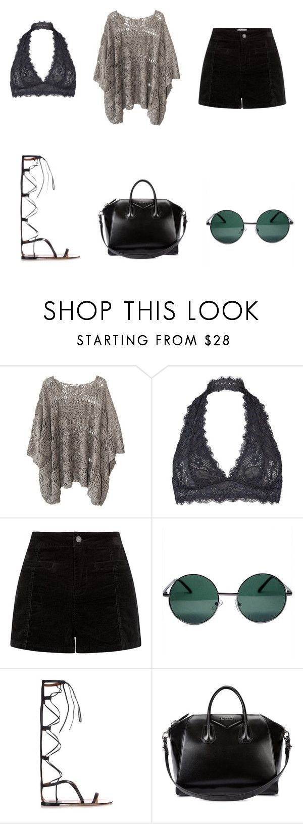 """""""Fifty shades of dark"""" by bellajunq ❤ liked on Polyvore featuring Mes Demoiselles..., Free People, YHF, Valentino and Givenchy"""