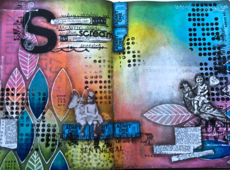 """S""  (c) Susie King mixed media journal"
