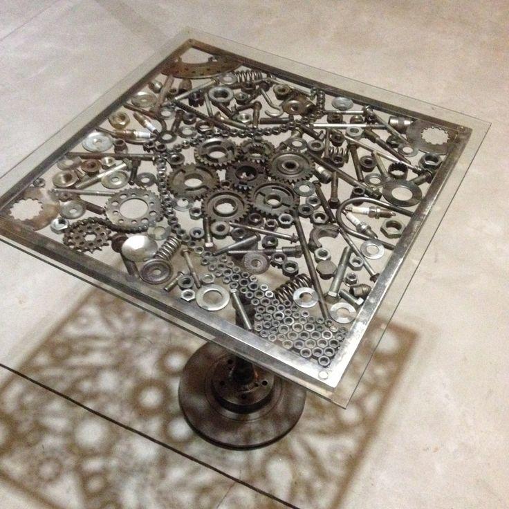 engrenage métal fait main table hot rod table table unique
