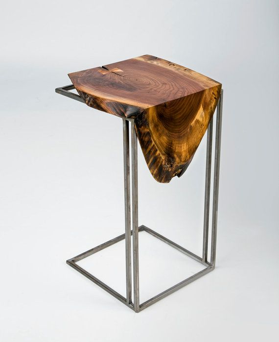 C Table Solid Black Walnut Top with Metal by AntonMakaDesigns