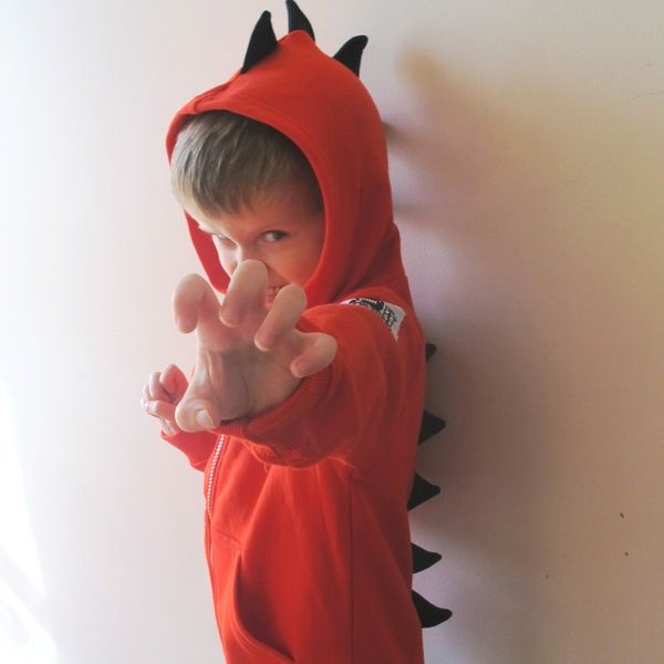Image of Dino Roar Hoodie - Red with Navy Spikes
