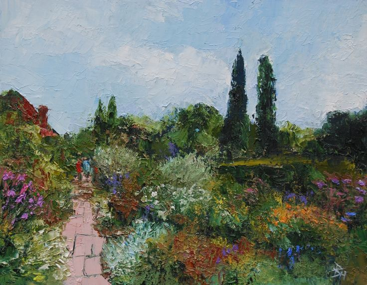 Borders At Sissinghurst, Kent, Oil painting by Brian Hanson | Artfinder