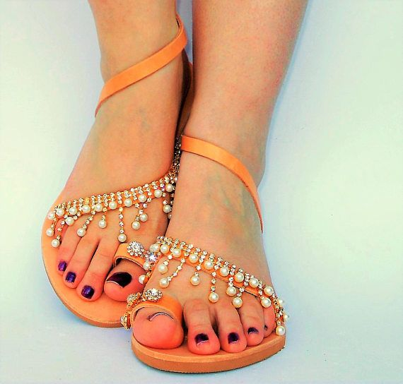 Bridal Leather Greek Sandals luxury flat wedding sandals