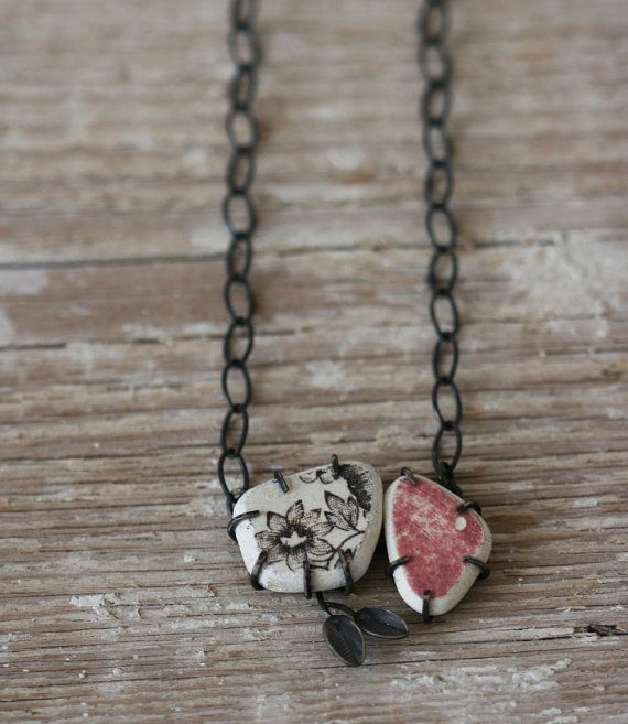 Form Necklace  Sterling Silver and Ceramic by afjewellery on Etsy, $195.00