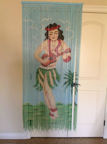 Hawaiian Tropical Hula Girl Bamboo Beaded Hanging Door