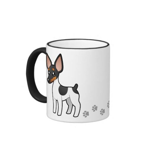Cartoon Rat Terrier / Toy Fox Terrier Ringer Coffee Mug