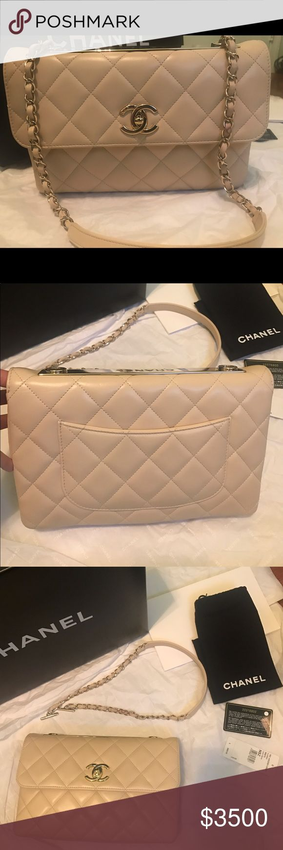 """NWT CHANEL MEDIUM FLAP BAG CLUTCH SHOULDER $4500 NEW CHANEL FLAP BAG 15C A92235 GOLD PLATE MSRP $4500. Had box, dustbag, booklet, price tag, card and tissues. Approx. 10.5"""" x 6.5"""" x 1.7"""". Shoulder and clutch style. Light Beige and lambskin. Two compartments & interior zipper. Burgundy leather interior. Made in ITALY. I accept best offers and welcome inquiries.  As a disclaimer, this bag was a store viewing merchandise, so it has few signs of handling in the leather, hardware, and defects in…"""