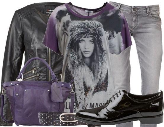 Casual outfit voor dit najaar,  shirt van Only, jeans van Tommy en mooie paarse accessoires.
