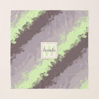 Watercolor Lavender Color Palette Monogram Scarf - monogram gifts unique design style monogrammed diy cyo customize