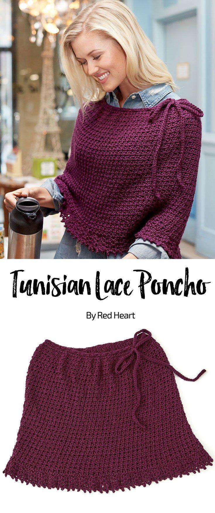 Tunisian Lace Poncho free crochet pattern in Soft yarn.