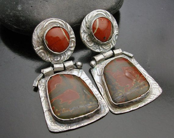 On sale   Cry Me A River  Picasso and Red River by designsbysuzyn, $140.00: Silver Earrings, Red River, Sale Cry, Sterling Silver, Jewelry Ideas, River Picasso, Fine Silver, Jasper Fine