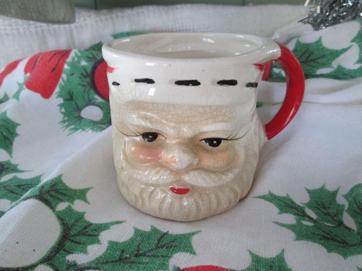 Vintage Santa Mug  Santa Cup Vintage Christmas Holiday Country Cottage Barware Christmas Shot Glasses by AntiquesPlus on Etsy