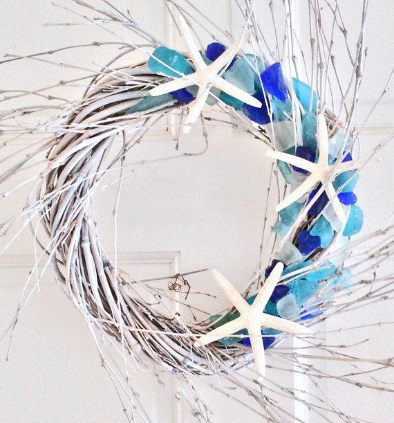 BEACH DECOR SEAGLASS wreath, driftwood-toned spiral, nautical decor, coastal wreath, beach glass wreath, door wreath by justbeachynow on Etsy