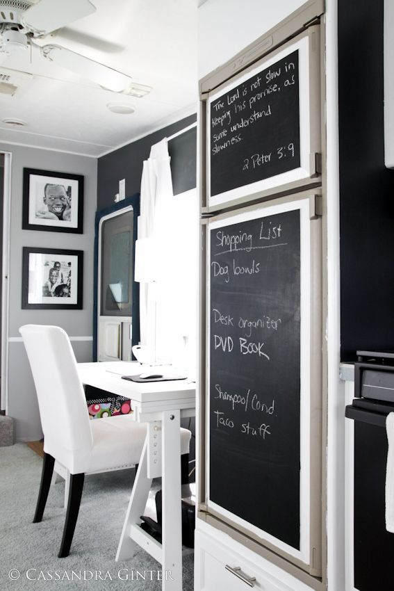 5th wheel camper makeover office area chalkboard paint on fridge
