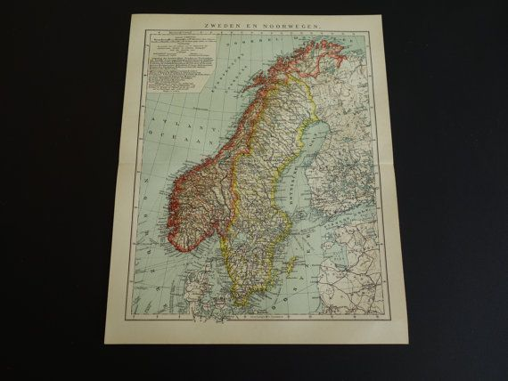 Old map of Sweden Norway 1910 original Dutch by DecorativePrints