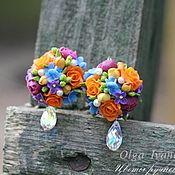"""Купить Длинные серебряные серьги """"Роксана"""" - розовый, ромашки, серьги с цветами, длинные серьги, цветы"""