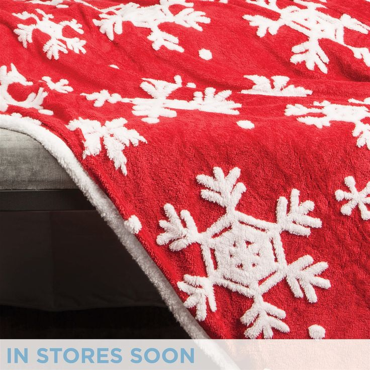 Holiday Embossed Snowflake Throw - Red | QE Home
