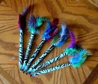 Love these pens made with the fun duck tape and feathers