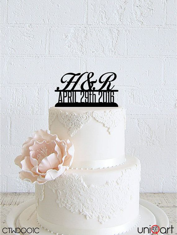 Mr & Mrs Personalized Wedding Cake Topper, Customizable Letters, Date, Removable Stakes, Free Base for After Event, Gift, Keepsake CTWD001C