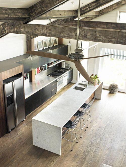 Loving the long kitchen island.