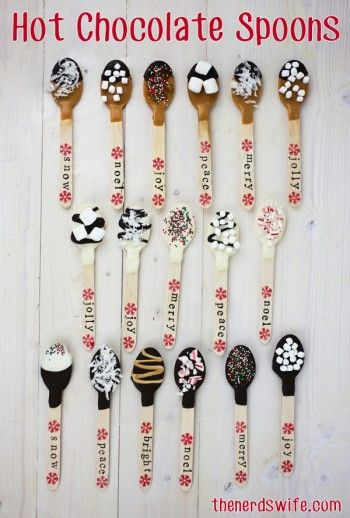 Hot Chocolate Spoons with an assortment of toppings that are hand-stamped with holiday greetings -- the perfect handmade holiday gift!