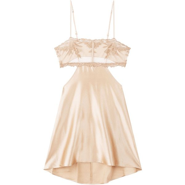 La Perla Satin Slip ($340) ❤ liked on Polyvore featuring intimates, shapewear, dresses and beige