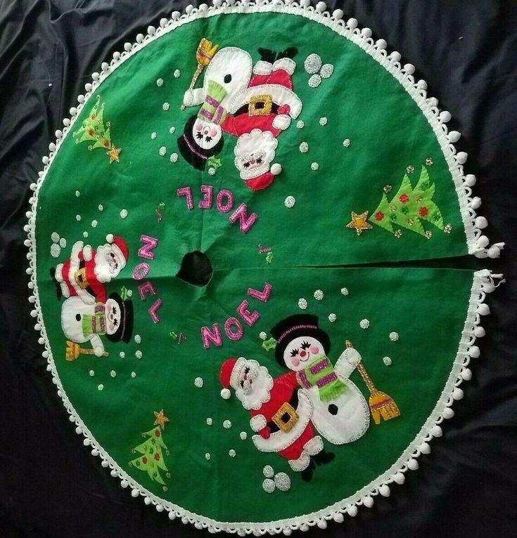 Details about Vintage Felt and Sequin Santa and Snowman