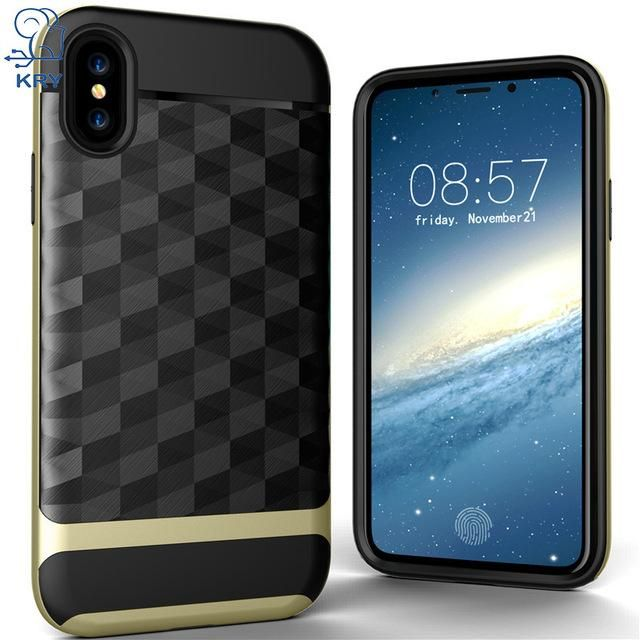 KRY Phone Cases For iPhone X Case Full Protective Soft TPU Hard PC Material Back Cover For iphone X Case Cover Anti-knock Cases