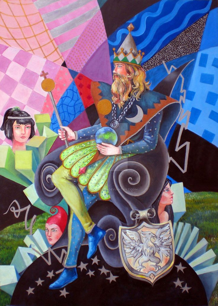 The tarot - The Emperor 4 - oil painted on panel 50x70 cm, 28x20 in.