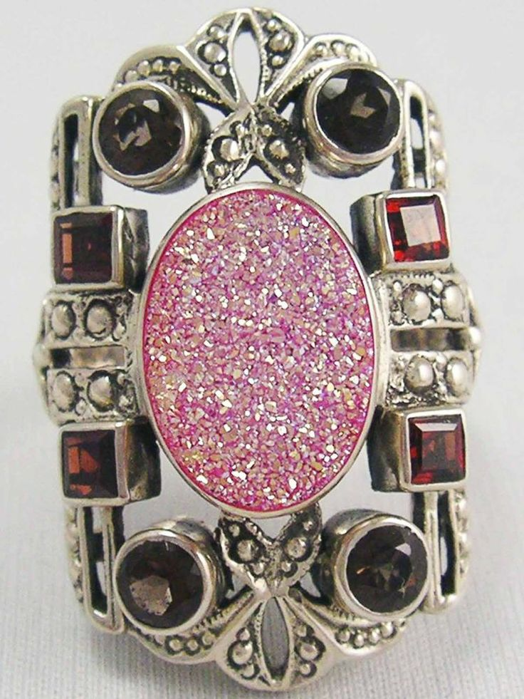 HUGE Designer NICKY BUTLER Sparkling Pink Druzy Garnet Amethyst RING 925 Vintage