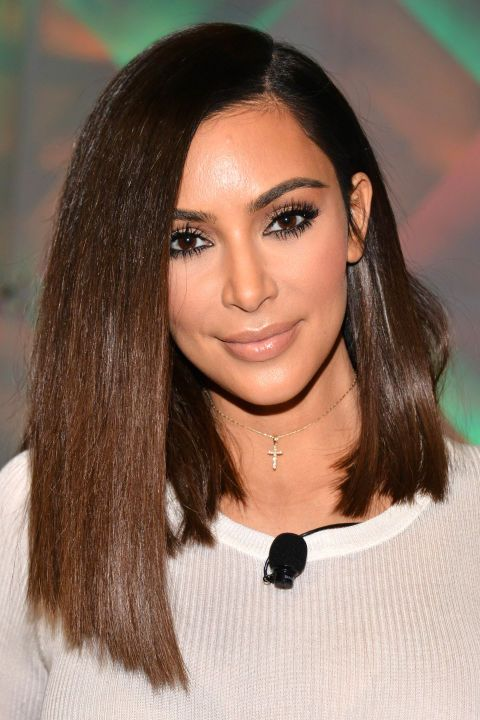Try Kim Kardashian's angled lob for a statement cut that's just a deep part and a hair straightener away.