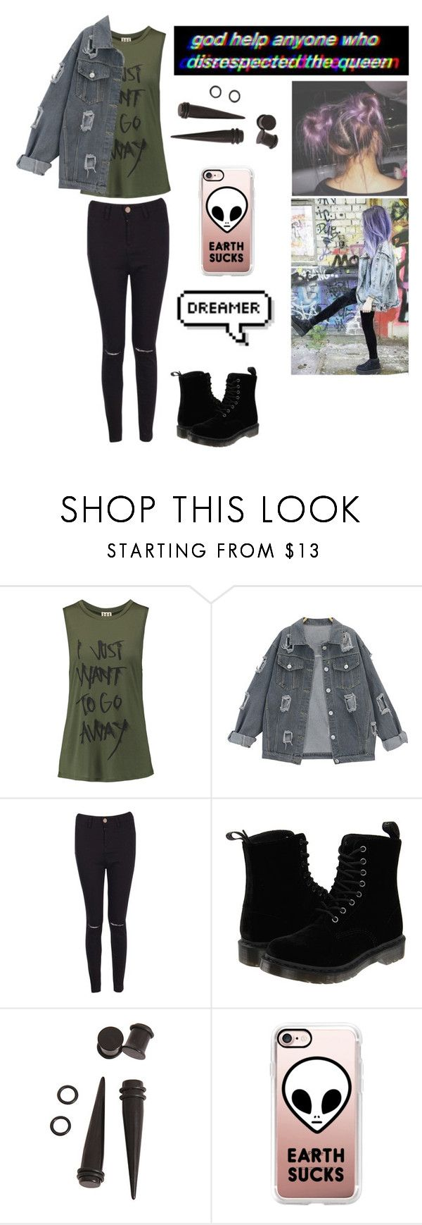 """""""grunge"""" by once-dead-twice-shy ❤ liked on Polyvore featuring Haute Hippie, Boohoo, Dr. Martens, Manic Panic NYC, Hot Topic and Casetify"""