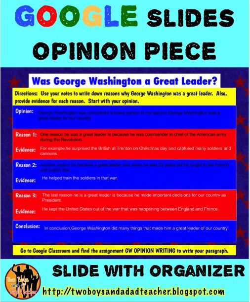 How do you make the move to paperless opinion writing?  With Google Slides of course!  I continue to create resources for my students to use on their Chrome Books with Google Slides.  We just recently tried writing an opinion paragraph completely online using Google Apps.  Here's an example of the OREO graphic organizer template for Google Slides.  Students used their notes to complete it.