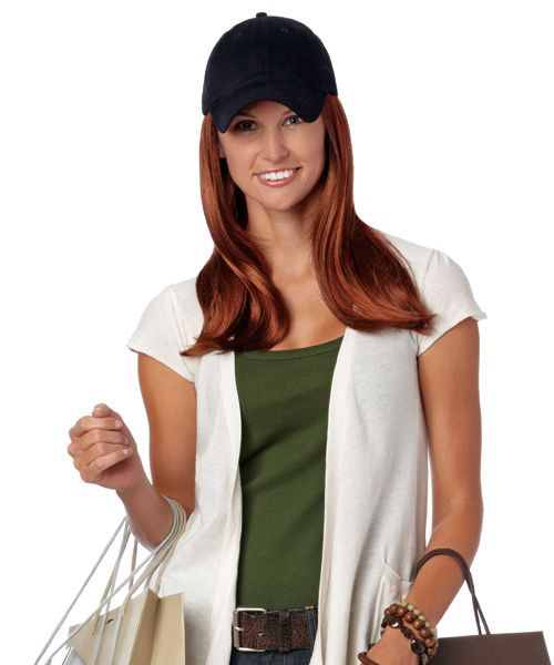 baseball cap hair attached the long hat black cotton blended permanently