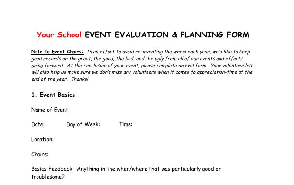Post-event evaluation form Great way to get feedback and make - how to create evaluation form