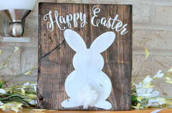 Easter Decor Easter Bunny Wooden Sign Easter by CraftDayGB on Etsy $22