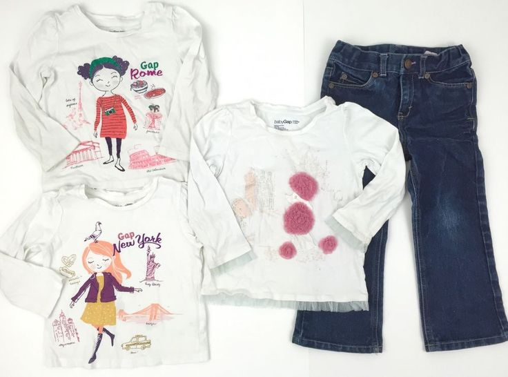 Baby Gap Girls 3T Lot Long Sleeve Graphic Tees Cherokee Bootcut Jeans   eBay