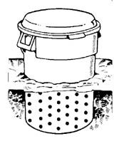 Trash can composting.  This is too much trouble.  I have my drilled plastic can sitting on a concrete pad.