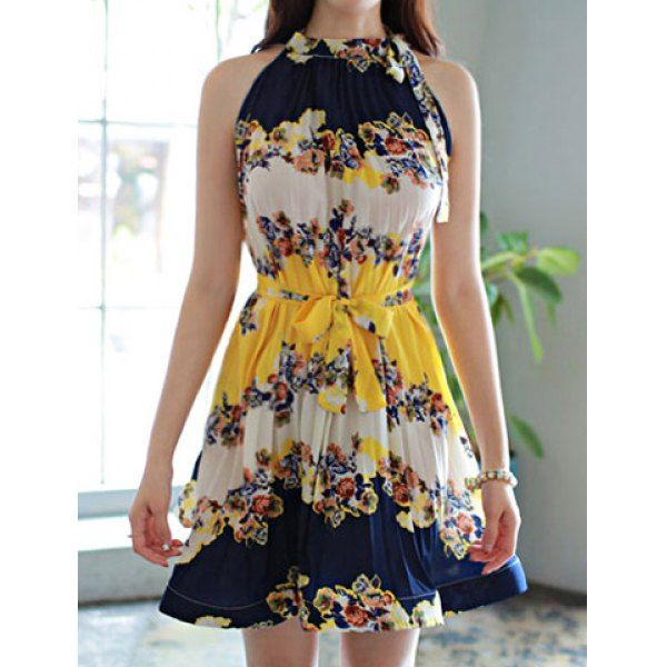 Off The Shoulder Sleeveless Round Collar Floral Print Self Tie Design Chiffon Dress, YELLOW, ONE SIZE in Chiffon Dresses | DressLily.com
