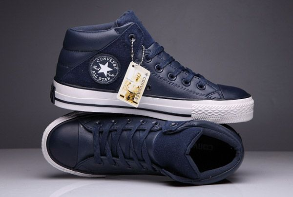 Blue Converse Padded Collar All Star High Leather Terminator ...
