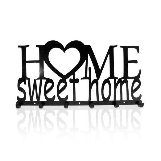 Pannello Appendi Chiavi da Parete Home Sweet Home Ganci Acciaio Appendiabiti Design Moderno Accessori per Casa Moderne Chiave Metallo Regalo Veranda EURO 29,90