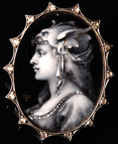 "Very fine enamel painting worked ""en grisaille"", by the famous enameller Paul Grandhomme (1851 - 1944) who worked with Alphonse Fouquet, Vever and Lucien Falize. It is depicting a Walkirie, in profile to the left. Brooch mounting set with some tinies rose-cut diamonds. Perfect condition. Signed by the monogram of Grandhomme. French work, circa 1880-90."
